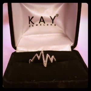 Diamond Heartbeat Ring - currently size 6 (real 7)